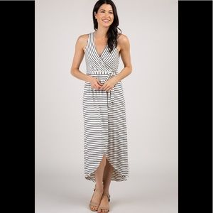 Ivory Striped Wrap Dress